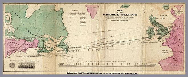 map of the submarine telegraph